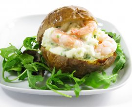 Jacket Potato with Prawns & Roasted Tomatoes